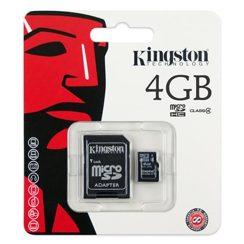 MicroSD 4 Gb Kingston + SD адаптер (class 4) купить